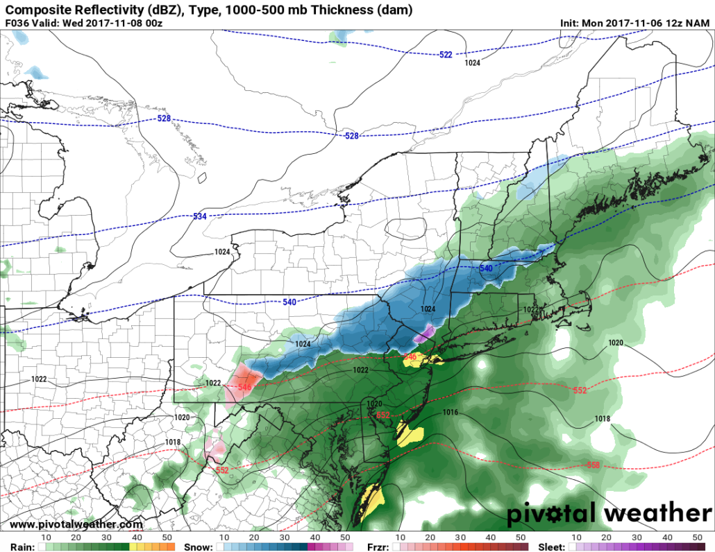 This evenings NAM model, a colder solution, showing snow mixing in on the NW fringes of the precipitation tomorrow evening
