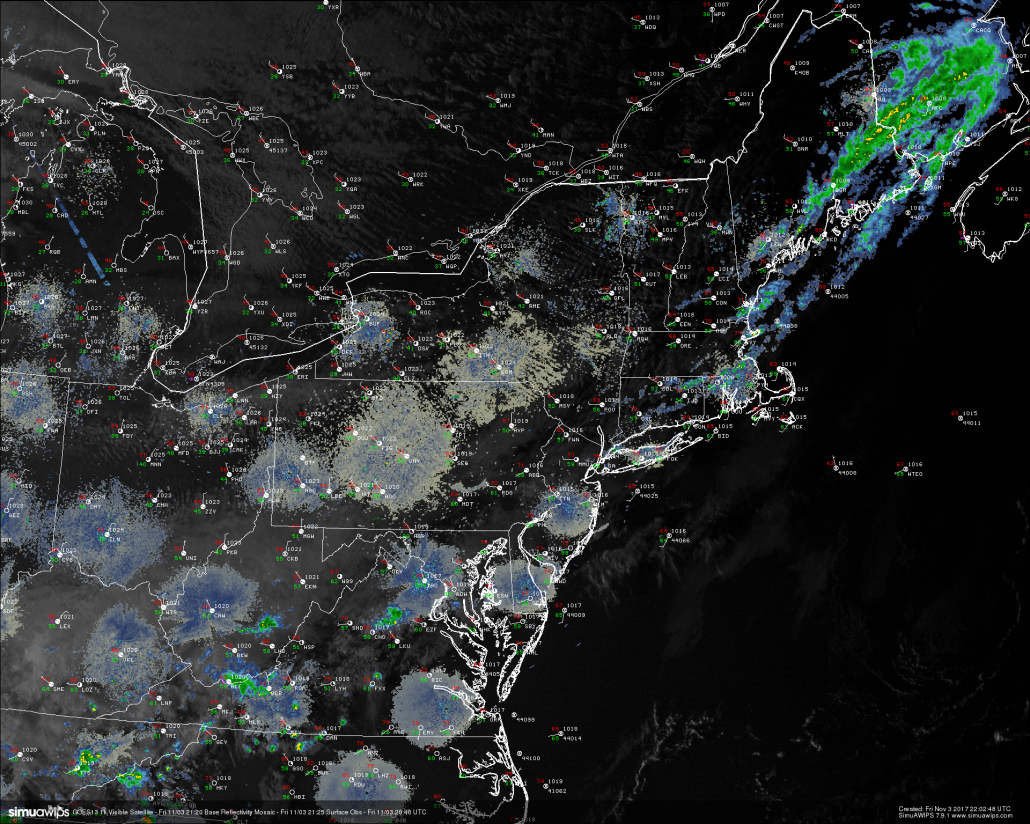 High resolution visible satellite imagery, surface observations, and regional radar mosaic (Courtesy of SimuAWIPS)