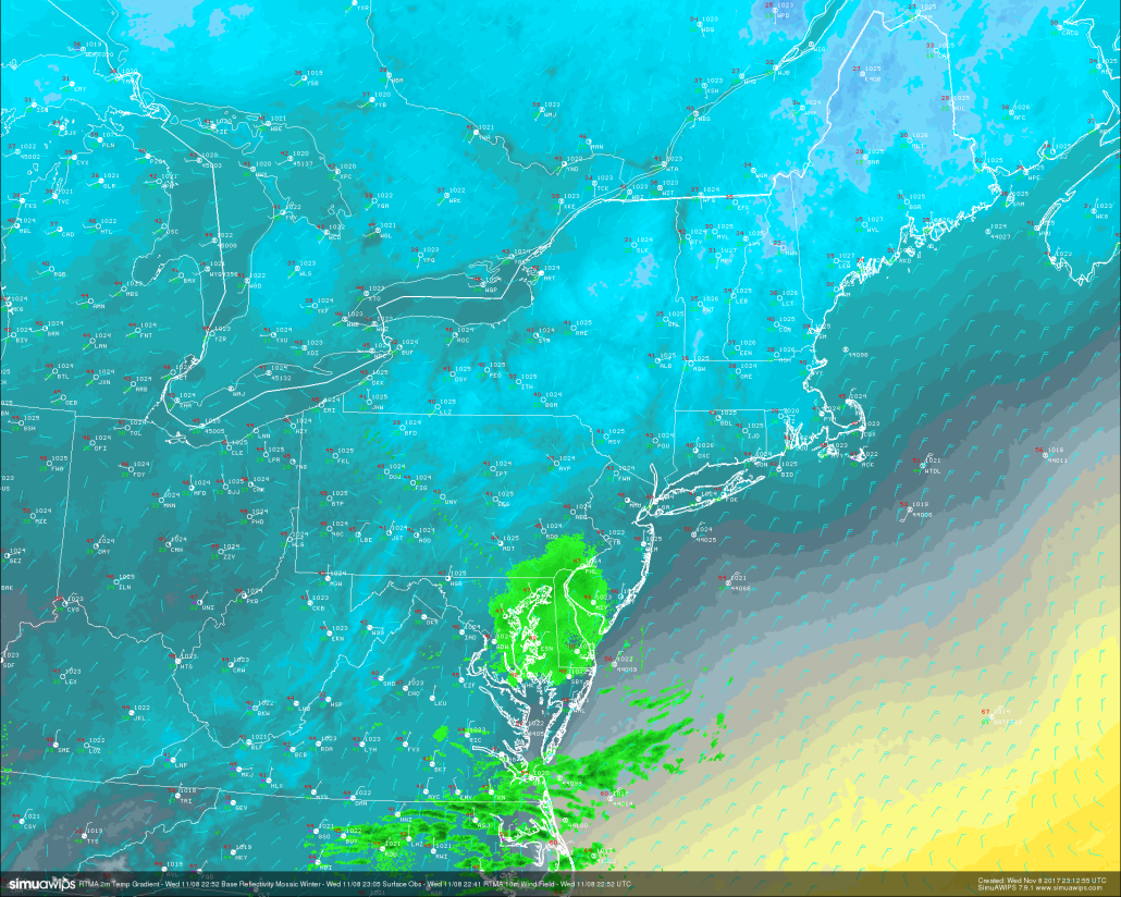 Real time temperature analysis , surface observations, and regional radar showing a calm, but cold end to our Wednesday