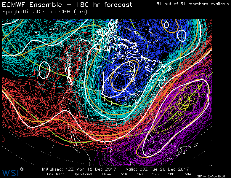 This afternoons European Ensembles showing a rather significant amount of spread in the overall 500mb pattern for Christmas day, showing nothing is set in stone yet.