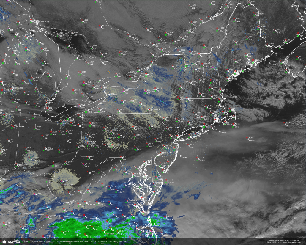 Snapshot of todays weather across the Northeast with regional radar mosiac, surface observations, and 500-meter high-resolution visible satellite data from GOES 16. Note the sharp cutoff of cirrus clouds just to the south of NYC