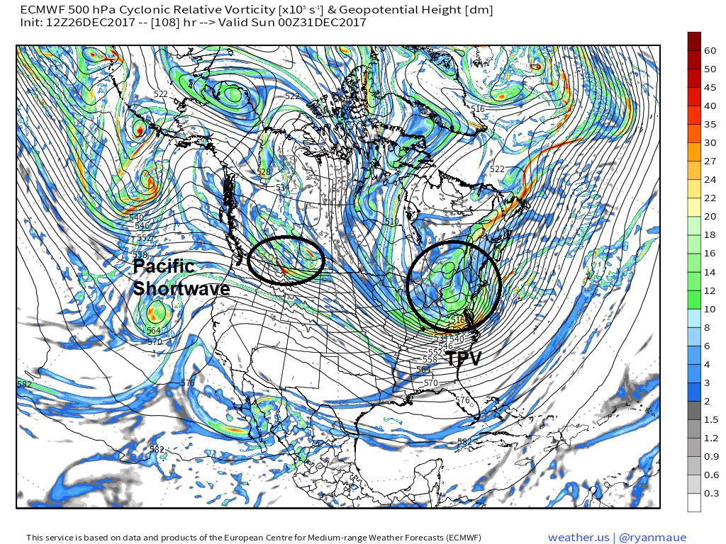 ECMWF model showing the TPV digging into Northeast, while another shortwave comes into the Pacific Northwest, causing the PNA ridge to flatten