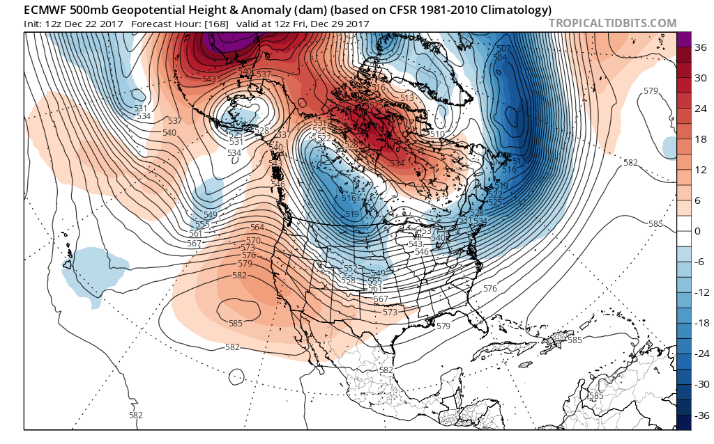This afternoons European Ensembles Mean, which shows a pattern in the mid levels that is quite supportive of cold and potentially snowy conditions across the east.