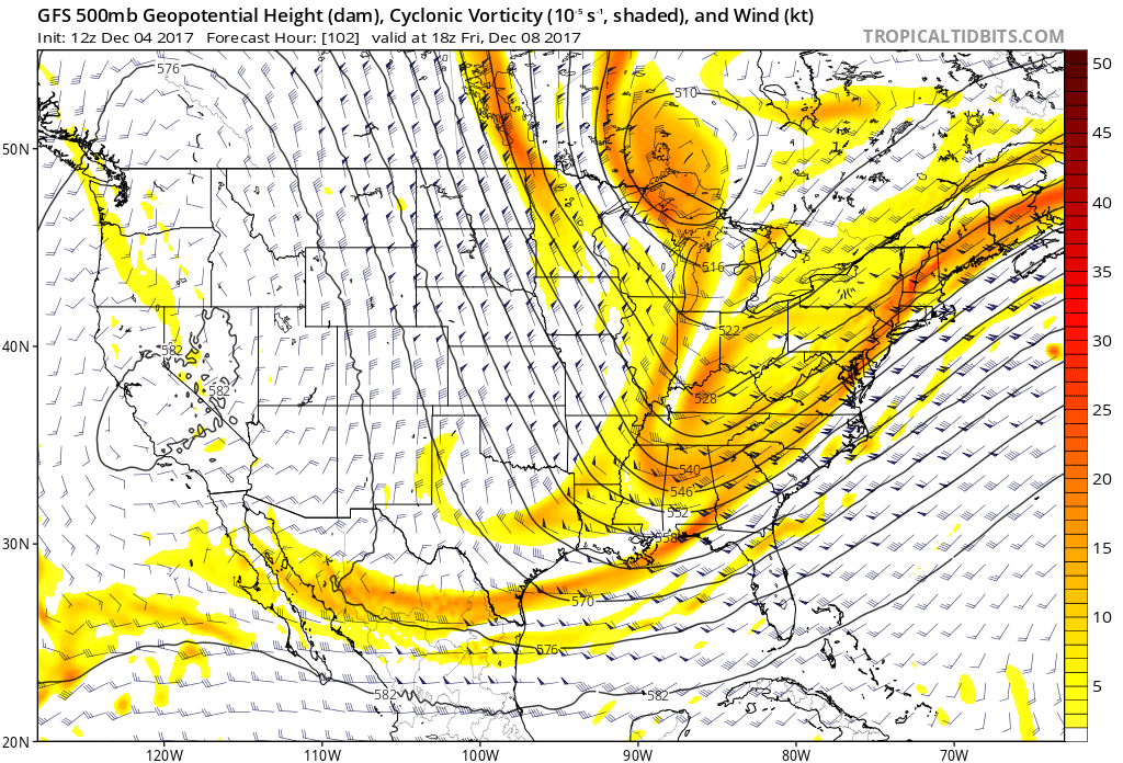 GFS model showing showing more sheared shortwave energy inside the trough for Friday.