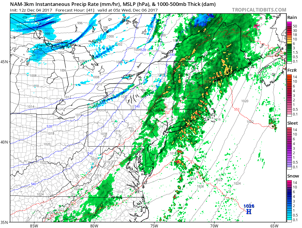 NAM model showing showers and isolated thunderstorms ahead of cold front tomorrow night