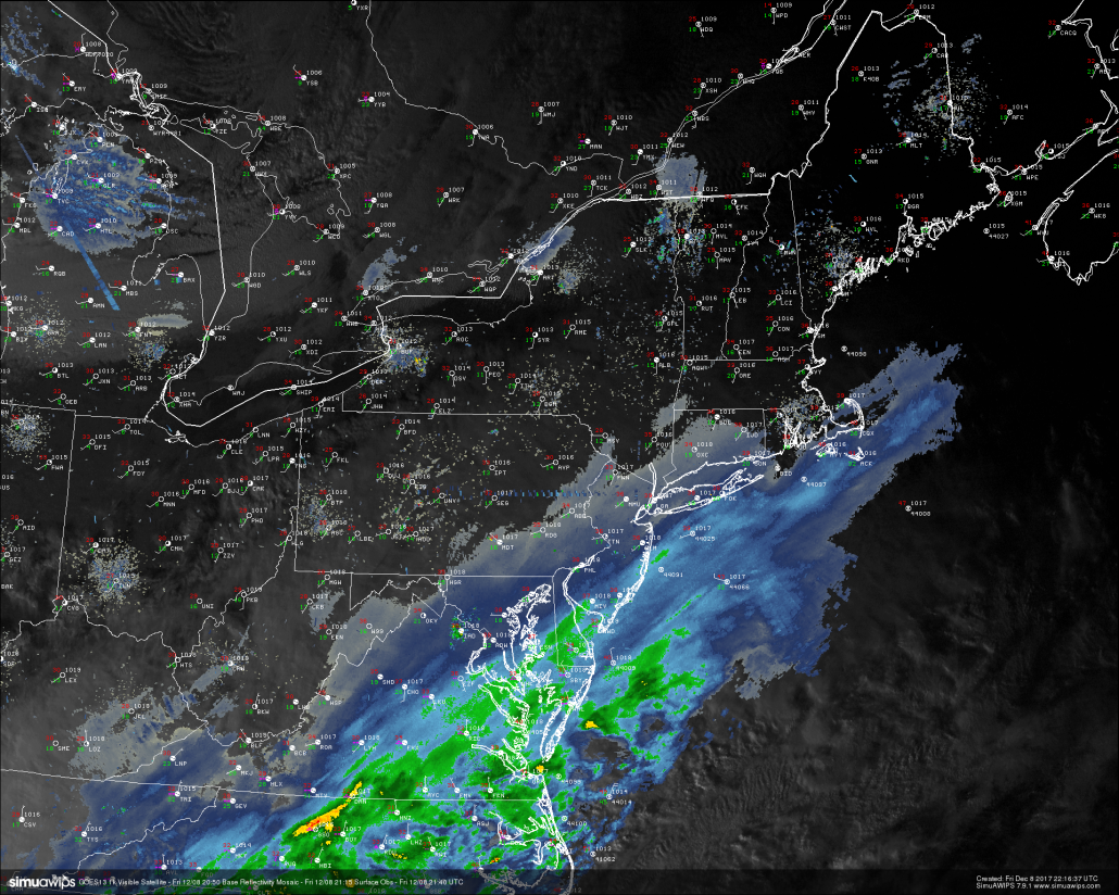 This evenings last-light visible satellite imagery, surface observations, and regional radar showing precipitation starting to work north into the Northeast.