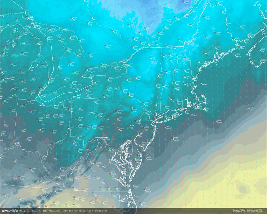 A look at the RTMA this evening showing cooling and clear conditions over the entire Northeast. Lows tonight are expected to fall sharply into the 20's and 30's across much of the area (Courtesy of Simuawips)