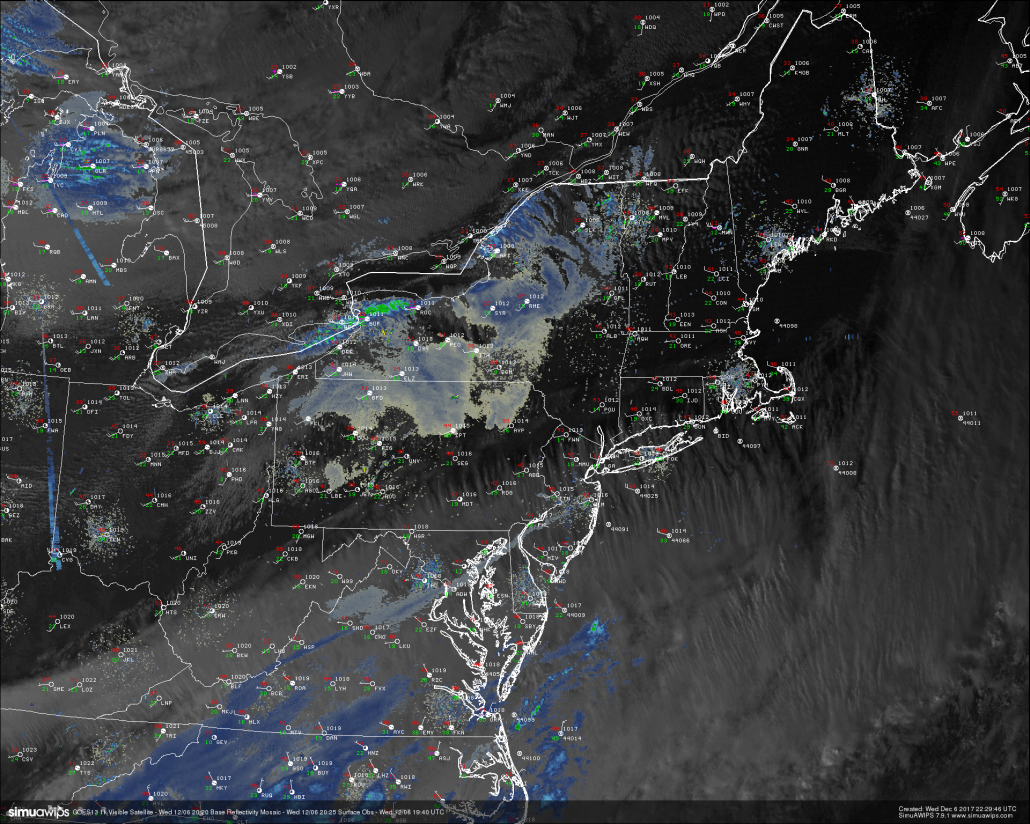 Last light GOES13 visible satellite imagery, regional radar mosaic, and surface observations, showing calmer and cooler conditions taking over the Northeast. Some high to mid level clouds are possible later this evening (Credit Simuawips)