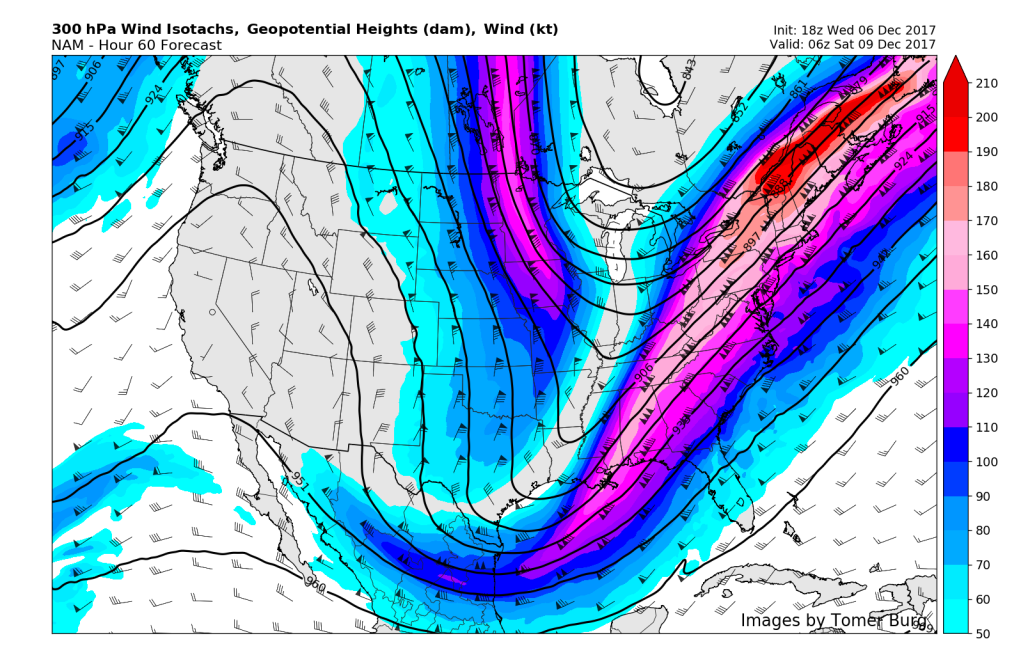 This evenings NAM model showing a very impressive and intense jet streak over the Northeast, promoting the development of precipitation near the east coast (Credit: Tomer Burg)