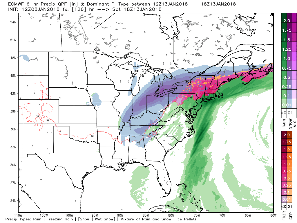 This afternoons ECMWF model showing a large winter storm centered over the Ohio Valley bringing a wide range of possible impacts.