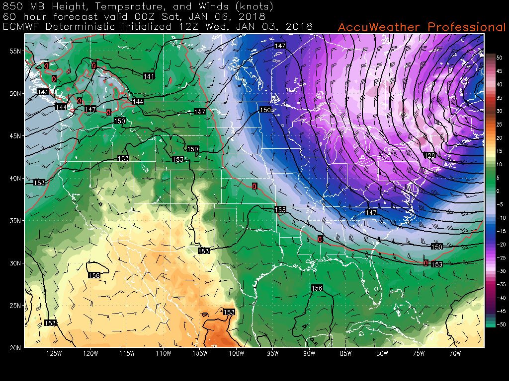 This afternoons ECMWF model showing a deep Arctic airmass set to move in directly behind Thursday storm!