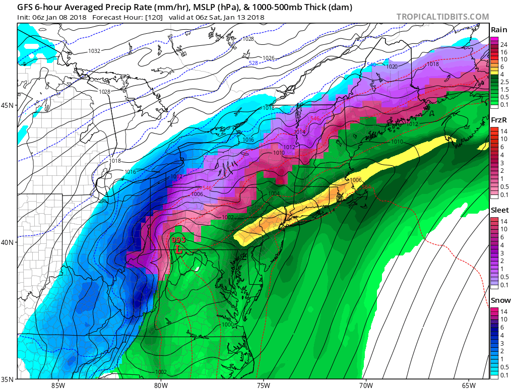 GFS showing a larger storm system for Friday night and Saturday