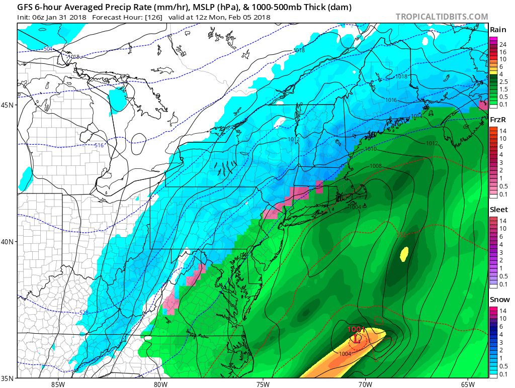 GFS model for Sunday night into Monday with Northeast Storm