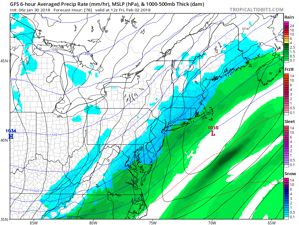 GFS model suggesting the development of snow on Friday morning.