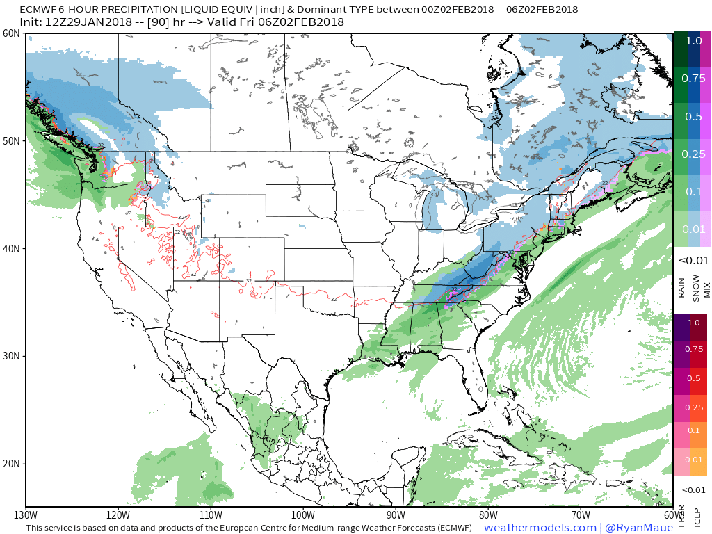 This afternoons European model showing light to moderate mix precipitation breaking out over portions of the Mid Atlantic and Northeast on Thursday night.