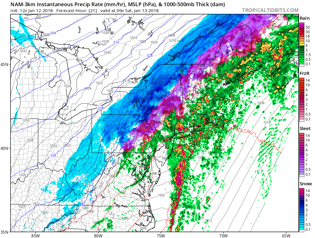 3km NAM model late tonight showing heavy rain and convection over coastal plains and more snow or wintry mix occurring over the Interior