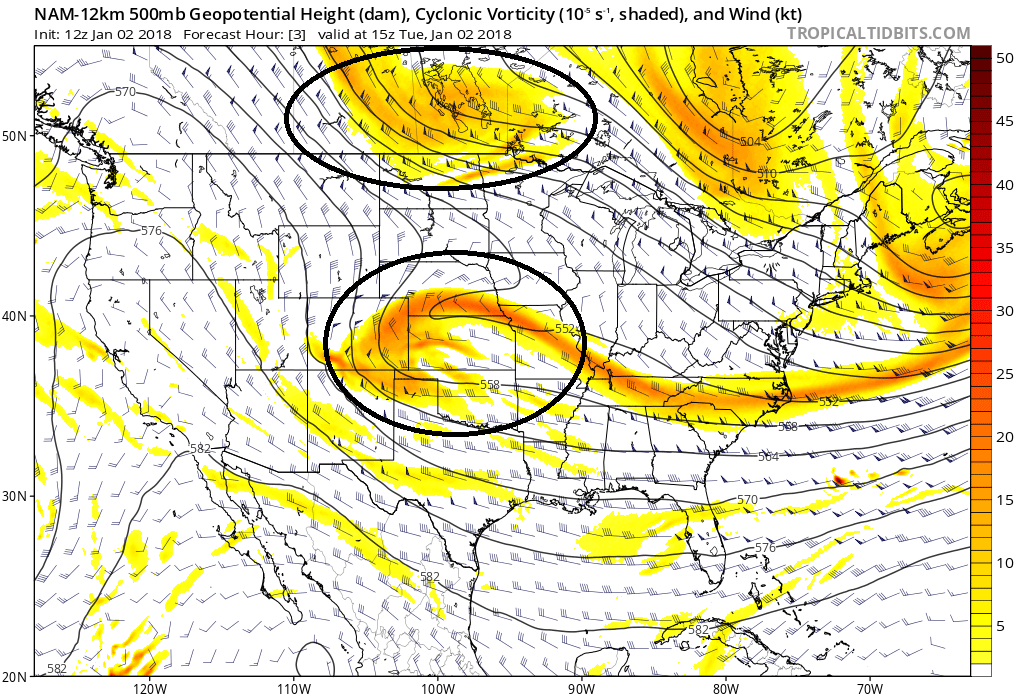 The NAM at 10:00am this morning showed the initial two disturbances very clearly (Tropical Tidbits).
