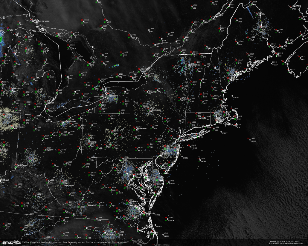 This afternoons latest high resolution visible imagery, regional radar mosaic, and surface observations showing a cold, but seasonable day across much of the Northeast