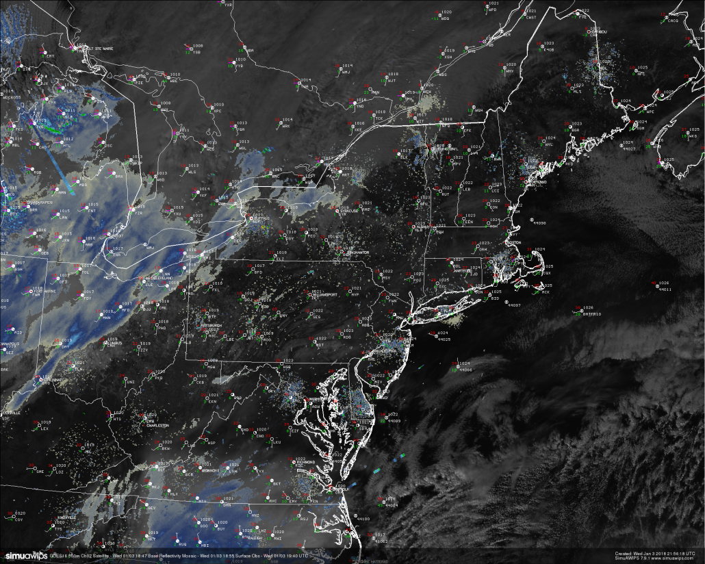 This afternoons high-resolution visible satellite imagery, surface observations, and regional radar showing a mostly sunny day across the Northeast with some occasional spots of clouds