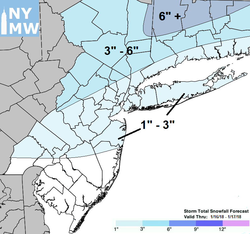 Expected Storm Total Snowfall from Tuesday Night/ Wednesday Afternoon