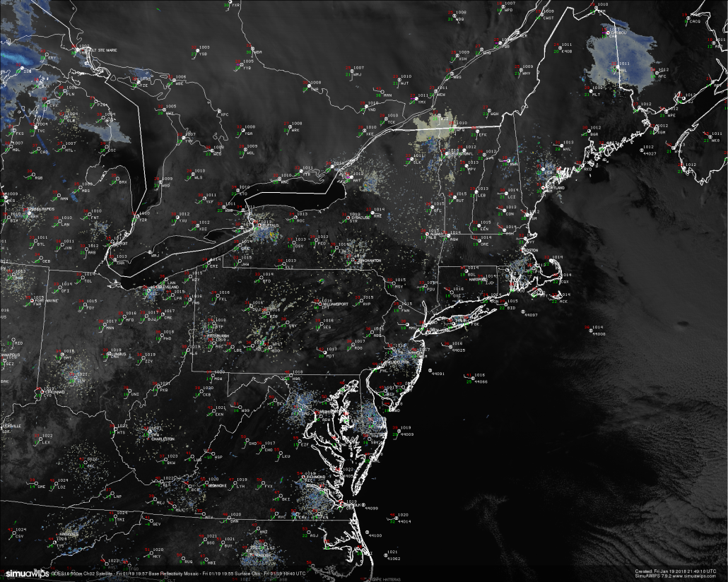 "This afternoons high resolution visible satellite imagery, regional surface observations, regional radar mosaic, showing a rather calm and cold day across the Northeast. Note the ice jam located juts to the south of the ""MDT"" in southeast PA"