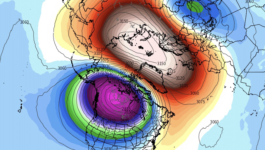 A major stratospheric warming event occurred in February that shook up the hemispheric circulations.