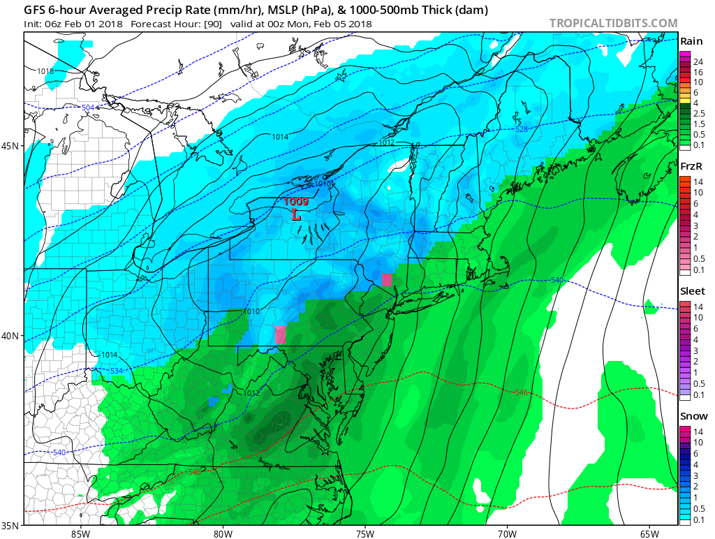 GFS model showing snow and rain over much of the Northeast and Mid-Atlantic on Sunday.