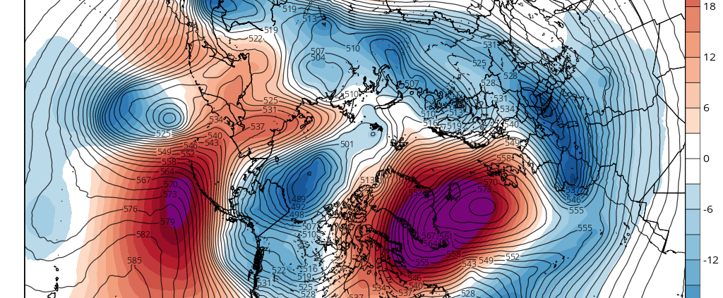Today's ECMWF model showing a massive Greenland blocking pattern, with chaos ensuing across all of the Northern Hemisphere (Tropical Tidbits)
