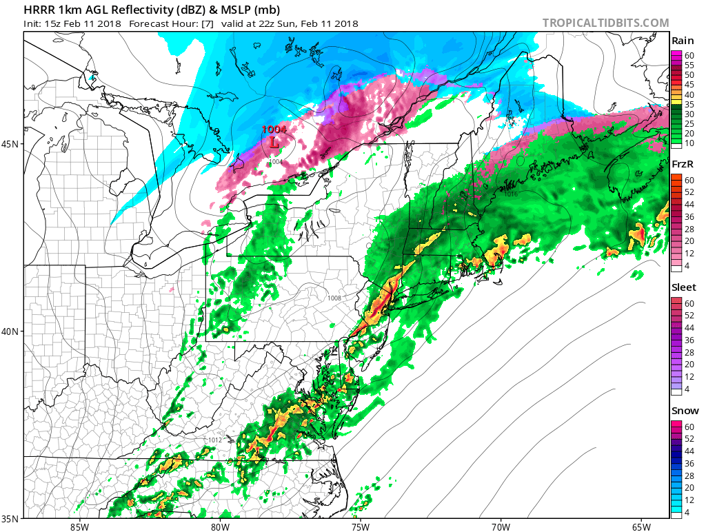 The HRRR suggest a rain with an embedded line of convection or thunderstorms may move across the parts of Eastern PA, New Jersey and Southeast New York later today.