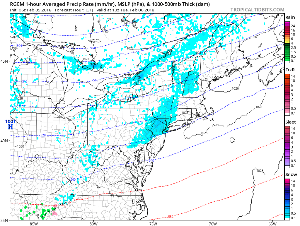 RGEM model showing snow showers over parts of Northeast Tuesday morning