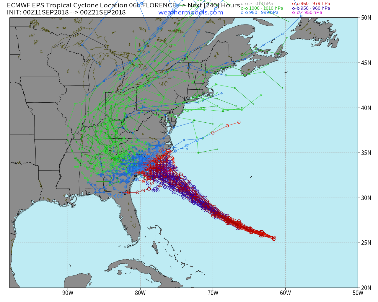 There Is Still Some Spread In Regards To The Exact Location Where Hurricane Florence Makes Landfall